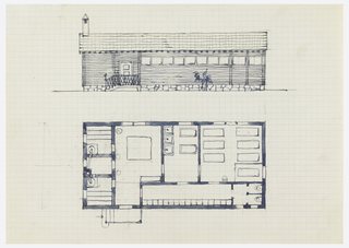 Sauna floor plan and elevation.