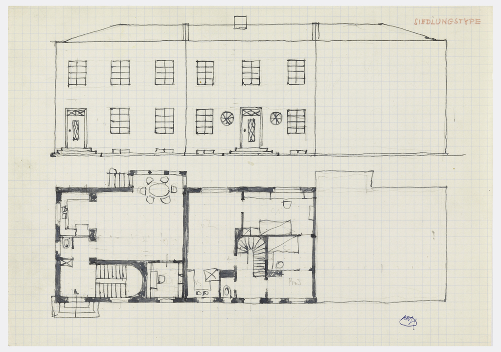 House elevation and floor plans.