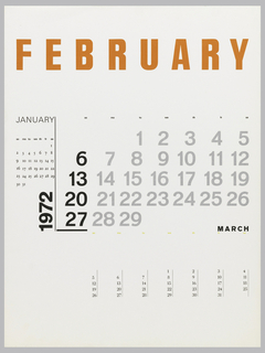 Calendar page for January, February, and March in different formats.