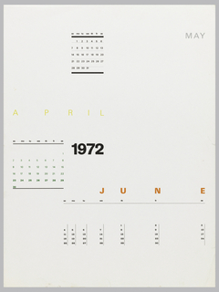 Calendar page for April, May, and June in different formats.