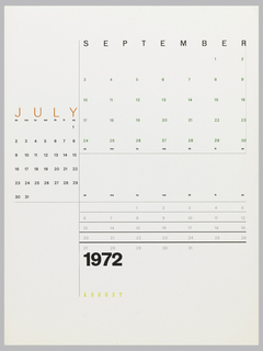 Calendar page for July, August, and September in different formats.