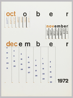 Calendar page for October, November, and December in different formats.