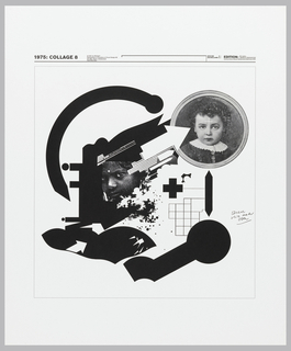 Black and white montage of nine graphic designs produced by Weingart from 1974 to 1975. At the center of the poster (Collage 7) photographic images and assembled and juxtaposed with heavy black, free-form shapes. Surrounding this image and set off from it by thin black lines are small reproductions of eight separate graph designs; six across the top of the sheet and two at lower right. At lower left a biographical statement and photographic reproduction of the designer. At right, an order form. Above the central image text reads: A NEW SERIES OF NINE HAND PRINTED COLLAGES / (PRINTED ON STURDY, WHITE STOCK) MEASURING 59 X 49 CENTIMETERS IS NOW AVAILABLE AT THE REDUCED PRICE OF $13.-SF/DM 30. -/ (INSTEAD OF $18.-OR SF/DM 45.)