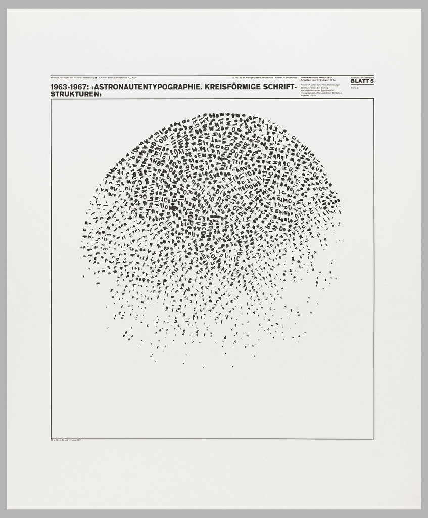Poster features letters in form of a disintegrating circle.