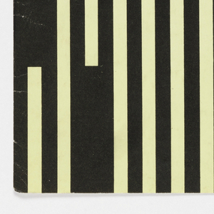 """The cover is vertically divided in two rectangular color blocks. Right color block is solid lemon with black shapes of Russian letters """"T"""" and """"E"""" in upper right quarter. Imprinted in black in lower right quarter: No. 8 (320) 1990. Left color block is black with ten parallel lemon stripes of different lengths running vertically."""