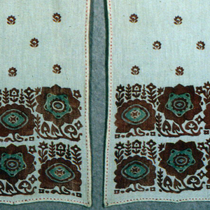 Sash to be worn with blouse (1977-77-1) with same block printed floral pattern in rust red with green on off-white fabric. Three panels of equal length joined by a figure-8 stitch using rust red silk. Running stitch using the same silk decorates hems on four sides.