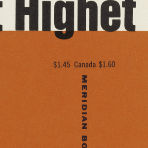 """Cover design for """"Talents and Geniuses"""" by Gilbert Highet. Cover features horizontal band of white ground at top and orange ground below. Author name printed in black on white ground at top, title in black and white on orange ground below, the ampersand in the title made up of the printed names of great artists, philosophers, composers, writers, and politicans."""