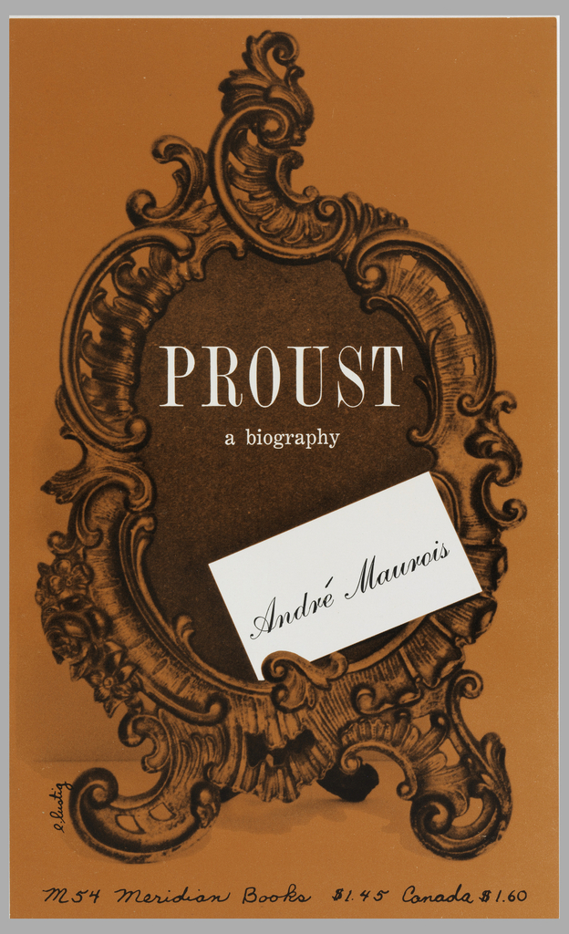 """Cover design for """"Proust, A Biography,"""" by André Maurois. Orange cover features a Rococo style cartouche with title in white text at top and white note card with author's name in printed black script."""