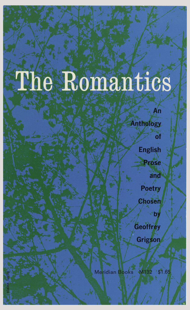 """Cover design for """"The Romantics,"""" selected poetry by Geoffrey Grigson. Cover features blue ground with silhouettes of tree branches printed in green. Printed text in white and black."""