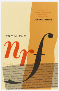 At front cover, an orange band running from top to bottom down the center and a gray one running across at the bottom. In the gray band are printed rows of names, probably authors of essays. Title printed in purple and black.