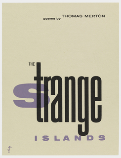 "Printed text in several fonts in purple and black on cream ground. The ""s"" of ""Strange"" in the title printed in purple, ""trange"" overprinted in black."