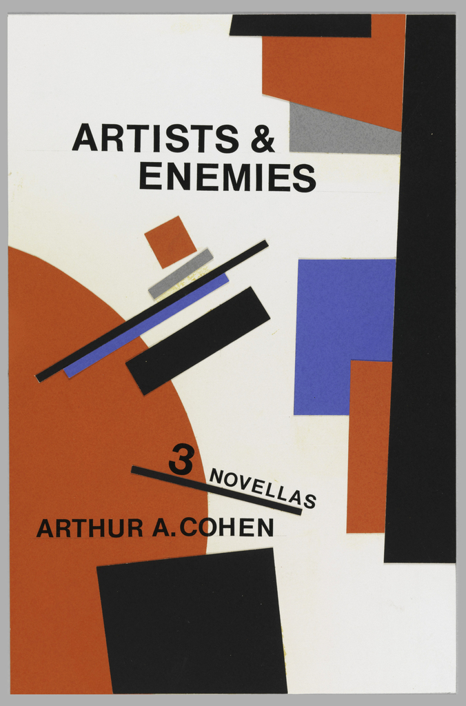 "Collage design for the book ""Artists & Enemies, 3 Novellas."" A red half circle and black square on the left; black, blue, red and gray partial squares on the right and small black, grey and blue lines in the center. Printed black text."