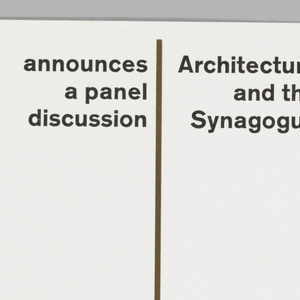 Invitation for a panel discussion at the Jewish Museum, New York, NY. On white ground, three brown thin vertical lines, evenly spaced, with black printed text in between at top. Brown printed text at right, black printed text at bottom right.