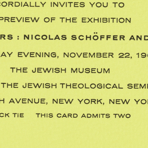 Yellow print invitation with nine lines of printed black text at lower center, address of the Jewish Museum, New York, NY.