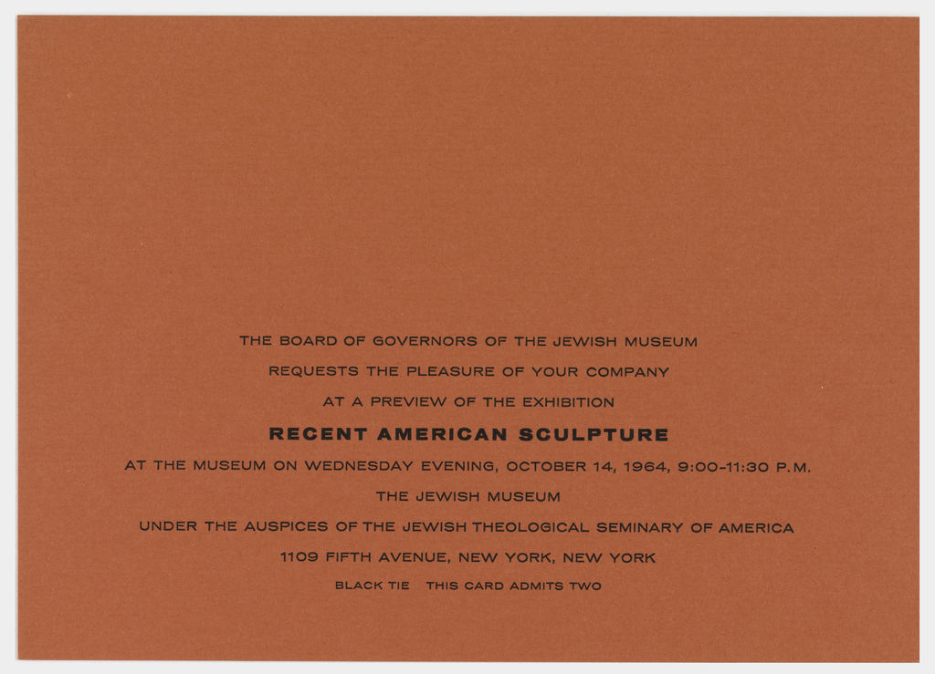 Print invitation exhibition preview recent american sculpture loading full size image stopboris Images