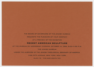 Red print invitation with nine lines of printed black text at lower center, address of the Jewish Museum, New York, NY.