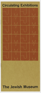 "Vertical rectangle with red and black print on brown paper. Cover image made up of repeated graphic identity for the Jewish Museum, ""JM"" in red, with printed black text at top and bottom."