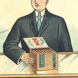 """Rectangular, rounded corners, featuring man with black hair in black suit, white shirt, blue tie; he stands behind glass counter, holding with right hand a large box of cigars; inscription above reads """"Look for the Union Label on the Box."""" Right side panel inscribed """"Compliments of Cigarmakers Union #97, Boston, Mass."""" in black on orange ground. Left side panel inscribed """"Not made by the Trust"""" in black and red on orange ground. Reverse inscription """"Honesty, Skill & Cleanliness, Your Protection, Smoke Union Made Cigars,"""" in black and red on orange ground flanks green facimili of """"Union-made Cigars Local Stamp."""" Lid hinged on side. Striker on bottom."""
