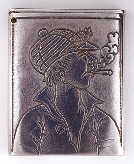 Rectangular, vertical sides curved, with incised profile of young man smoking. He wears striped cap and plain shirt with collar turned up, top button open, cigarette hanging from mouth, smoke billowing upwards. No decoration on reverse. Flat, thin lid hinged on left. Unknown where striker is located, possibly on actual face of box.