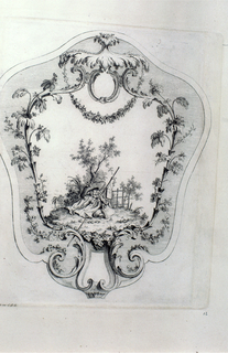 Cartouche containing a small landscape featuring a small pile of traveler's garb.