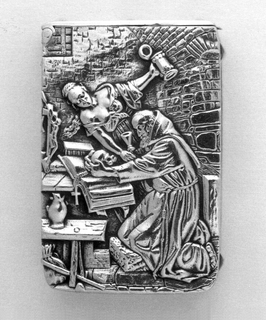 Rectangular, raised decoration, featuring scene of the Tempatation of St. Anthony. He kneels at wooden table and bench, in monk's robes, before open prayer book, with skull and crucifix in hands. Behind him is woman in low cut dress with beer stein in left hand and drinking glass in right. Scene situated in brick and stone room. Left side of box, and thin, flat lid have square nail head-like decoration on surfaces. Striker on right side is puncuated on top and bottom by same nail head decoration. An additional striker is on bottom. Reverse features textured, honeycomb-like surface. Lid hinged on side, near top.