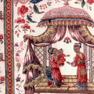 Short curtain panel printed in a multicolored design of a detached floral pattern showing chinoiserie influence. In body of the curtain, a wide border of pavilions, boats, people in Chinese dress. Border is printed in one piece with the curtain. In shades of red, blue, violet, yellow and green (blue over yellow).