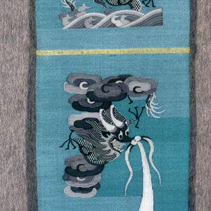 Uncut pieces for costume accessories have a yellow and blue ground with dragons, clouds, rocks and waves in many shades of gray.
