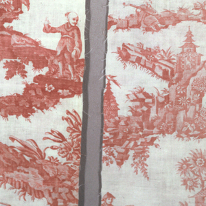 "Chinoiserie design printed in red on a white ground. A pagoda, and boys in Chinese dress on a rock, with birds, with jars, fishing. Another pavillion is formed with rocaille scrolls. The design is a copy of the Bromley Hall design ""Pagoda."""