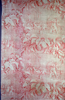 Copperplate printed in red, very faded, two scenes of village life: gathering grapes and bringing in hay and gourd harvest. Scenes separated by huge swags of naturalistic fruit, leaves and grapes.