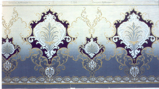Foliate medallions, alternating between large and small. Printed on ground which shades from light at the top to deep blue at the bottom. Band of guilloche runs along bottom edge.