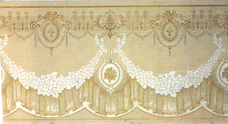 A repeating design of cameo medallions hung by floral swags below which is hung drapery all below a complementary border in bronze, upon a beige ground with an overlay of a tiny geometric pattern in gray and a more distinct one in brown. Printed in beige, cream, white, tan, gray, brown, bronze and gold.