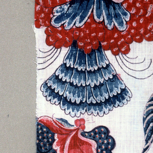 Four fragments of a larger design of exotic blossoms, tree trunks, and birds on a white ground.