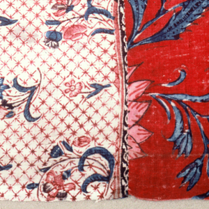 Component A is fragments sewn together as in French flag; red background, white background and blue background chintz. Direction of pattern changes. Component B is two pieces of blue background chintz sewn together.