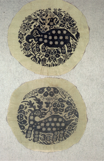 Five circular embroideries, primarily in cross stitch, each despicting a differend animal or bird. A, bird with human figure on its back; b, four-legged animal with a human figure on its back; c, panther or cat-like animal; d, deer or other horned animal; e, elephant-like animal with human figure on its back. Embroidery in blue on a natural ground.