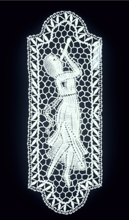 Identical panels of a woman with flowing skirt blowing on a reed pipe.