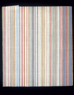 Fine stripes.  a:red, orange, yellow, blue and black b: blue green, yellow, pink and black  c:orange, yellow, blue and two greens