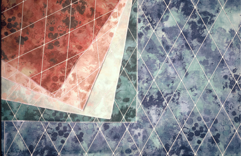 Mottled watercolor-like shapes behind a diamond grid. A. 6 blues, 3 greens, 2 creams on white. B. 8 browns, yellow and cream on white.