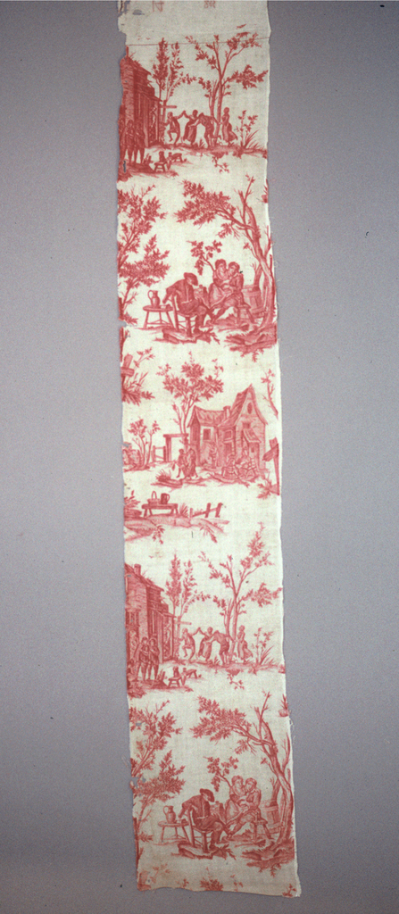 Scenes of people enjoying food and drink in a rural landscape. Red on white.
