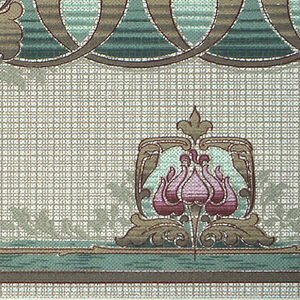 Art Nouveau style. Stylized acanthous guilloche, broken up every three loops byt a large flower and stem that extends down towards the bottom of the frieze. Along the bottom, between each flower, is a smaller flower encased in a square. Background is cross-hatch. Printed in gold, white, and shades of pink, green, and brown.