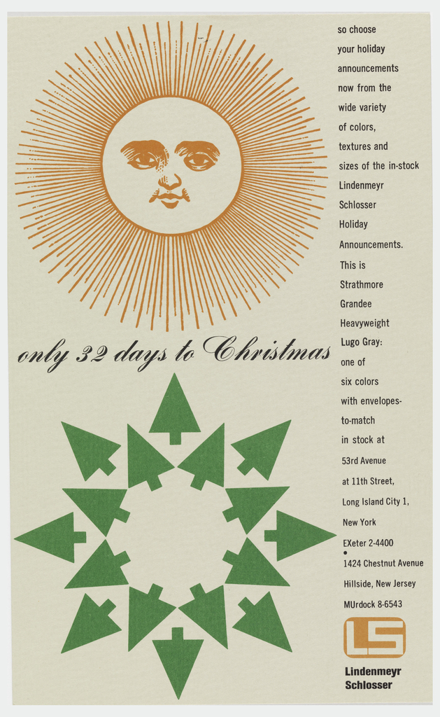 """Vertical format print advertisement. At top left, an orange sun with a human face and linear rays. At bottom left, a stylized green snowflake made up of an inner circle and outer circle of green pine trees. Printed text in black script between the two images, additional printed text in a column at right with details, company address, and phone number. At lower right, logo with tan letters """"LS"""" within rounded orange rectangle."""