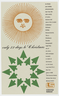 "Vertical format print advertisement. At top left, an orange sun with a human face and linear rays. At bottom left, a stylized green snowflake made up of an inner circle and outer circle of green pine trees. Printed text in black script between the two images, additional printed text in a column at right with details, company address, and phone number. At lower right, logo with tan letters ""LS"" within rounded orange rectangle."