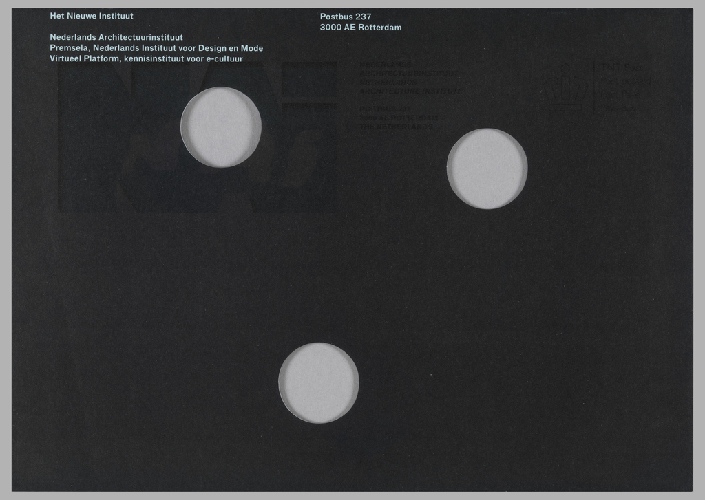 Mailing envelope overprinted in black with white text and three holes.