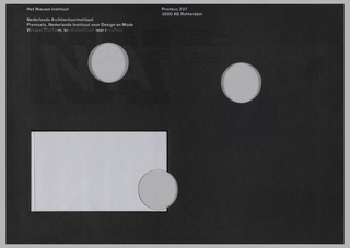 Mailing envelope overprinted in black with white text, mailing label, and three holes.