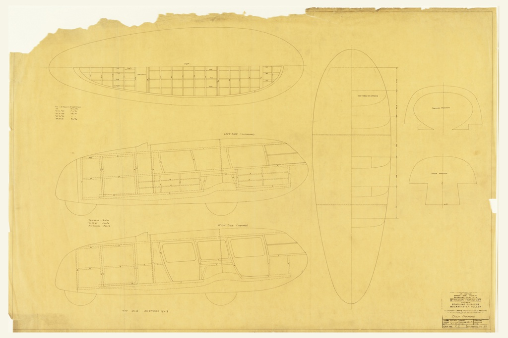 Horizontal rectangle. Four sketches of Dymaxion car with views of body framing, plan, and elevation. Stamped text at lower right. Notations throughout.