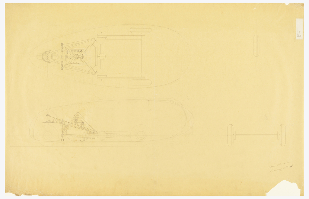 Horizontal rectangle. Architectural drawing of Dymaxion car with plan and elevation views that highlight the chain drive details of the vehicle. Graphite inscription at lower right.