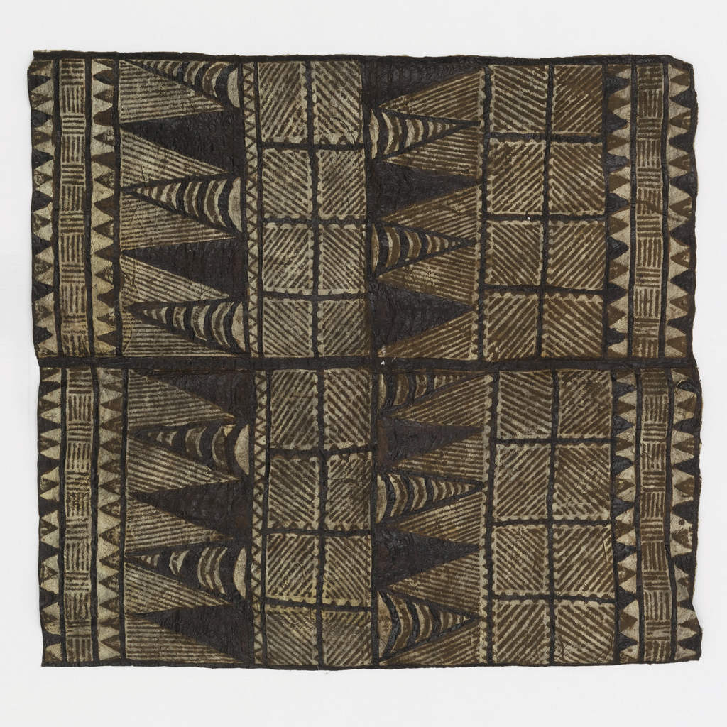 Square of tapa cloth with pattern in squares filled with diagonal stripes and diamond shapes in horizontal arrangment in shades of dark brown.