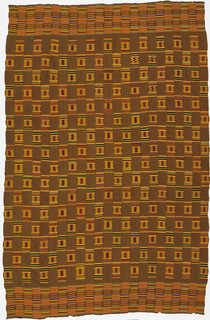 Man's prestige cloth composed of twenty-three narrow woven strips stitched selvedge to selvedge. Each strip is patterned with rectangular areas of warp-faced stripes weft-faced plain weave on grouped warps, and patterned weaves with two-color complementary wefts and brocading. The pattern blocks are arranged in a checkerboard fashion. Black, blue, green, yellow, and red, with a strong yellow-orange predominating.
