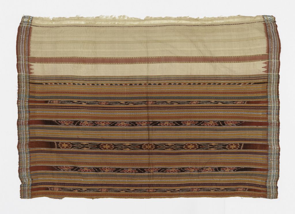 One end of a sari patterned by bands of weft ikat alternating with bands of plain weave some of which are patterned with tiny geometric shapes. A narrow border at each side and two plain ivory bands at one end with stepped triangles at the edge.