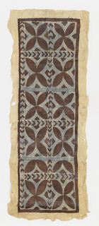 Panel of tapa cloth painted blue and brown showing bands of chevron within a thin brown frame. Center of design composed of ten quatrefoils. Border of unpainted cloth.