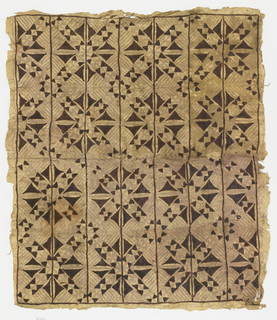 Panel of tapa cloth painted to show allover design of light grey lines with larger geometric pattern of triangles and vertical lines in dark brown.